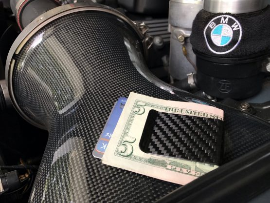 Carbon Fiber Money Clip on BMW Engine Intake